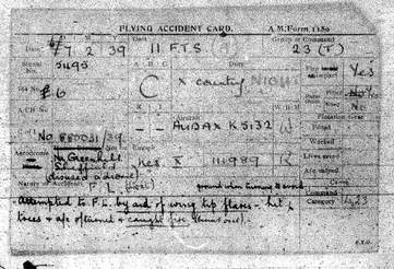 audax k5132 f1180 aircraft accident card coal aston greenhill