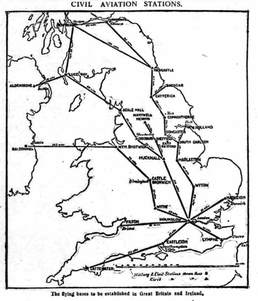 Proposed internal domestic air routes post ww1 Coal Aston greenhill Sheffield 1919
